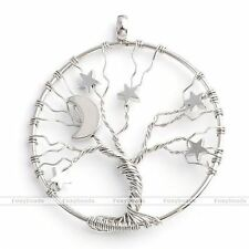 Womens Silvery Round Tree Of Life Moon Star Wire Wrap Pendant Fit Necklace DIY