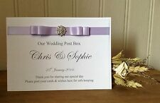 PERSONALISED LANDSCAPE WEDDING POST BOX SIGN WITH SATIN RIBBON & EMBELLISHMENT