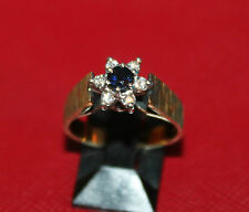 DAZZLING SECONDHAND 18ct YELLOW GOLD SAPPHIRE & DIAMOND CLUSTER RING SIZE N