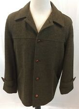 VTG Filson Dark Forrest Green Wool Jacket/Coat Leather Buttons Mens M/Short USA