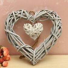 Lovely Shabby Chic Double Heart Wicker Wreath Wall Hanging Wedding Party Decor