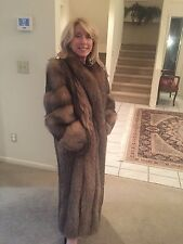STUNNING Full Length Crystal Fox Fur Coat. SZ M.
