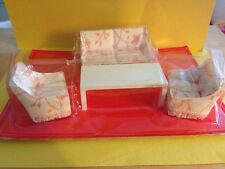 1:12 Dollhouse Furniture Set Miniature Living Room Floral Sofa 2 Chairs Table (4