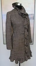 RED VALENTINO Runway Houndstooth Black Ruffled Wool-Blend Tweed Coat XS SOLD OUT