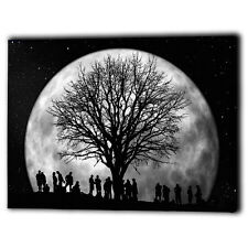 Large Tree & Night Full Moon Canvas Framed Panel - Wall Art Print Picture Gifts