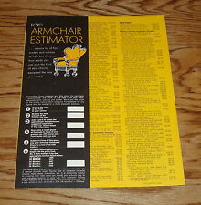 Original 1969 Ford Armchair Estimator Price List Brochure 69 Mustang Thunderbird