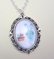 """Happy Easter Bunny & Basket Silver Plated 18"""" Necklace New in Gift Bag"""