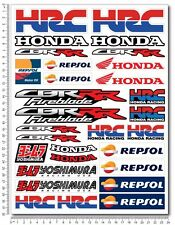 Honda CBR motorbike racing decal set 9.4x12.6 sheet 30 sticker 1000rr Repsol HRC