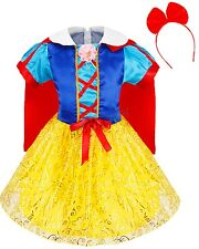 Kids Snow White Fancy Dress Halloween Costume Fairy Tale Princess Cosplay Outfit