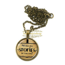 We Re All STORIES IN THE END Doctor Who Necklace Pendant Quote Jewelry Necklace