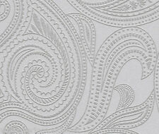 NEW Grey & Silver, Retro Paisley Design, Blown Vinyl, Paste the Wall Wallpaper
