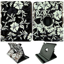 WHITE FLOWER FOLIO CASE IPAD AIR 5 IPAD 5 360 ROTATING STAND TABLET COVER