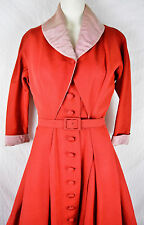 RARE 50s Vintage Pierre Balmain Cocktail Evening Dress Red Silk 1950s Valentine