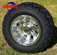 "GOLF CART 10"" SILVER BULLET WHEELS/RIMS and 18""x9""-10"" DOT ALL TERRAIN TIRES(4)"