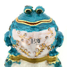 Blue Fat Frog Toad Handmade Crystal Metal Trinket Boxes Jewelry Ring Holder Gift