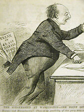 Political Cartoon 1875 SPEAKER of the HOUSE Jackass Power Print Matted
