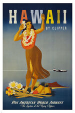 HAWAII vintage TRAVEL POSTER 24X36 flowers WOMAN DANCING classic hot RARE