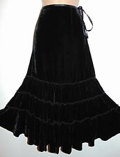 NWT Laura Ashley black silk velvet tiered Gypsy styled occasion skirt, size 8 UK