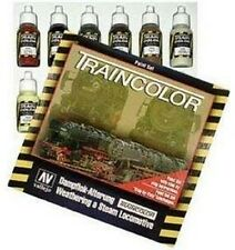 VAL73099 Train Color Steam Engine Weathering Set (9 colours,2 brushes & pallete