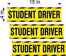 """STUDENT DRIVER - 4X15"""" MAGNETIC SIGNS - 3 pack"""