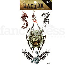 Dragons and Tiger Tattoo Halloween Temporary Body Art Gothic Fancy Dress T32