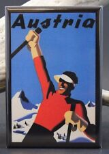 "Austria Vintage Travel Poster - 2"" X 3"" Fridge / Locker Magnet."