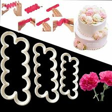 New!3D 3pcs Carnation Flower Fondant DIY Cutting Tool For Cake Decoration Mold