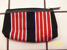 LANCOME COIN PURSE / SMALL MAKE UP CASE BLUE RED AND WHITE STRIPED