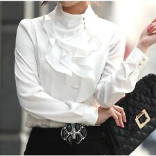Vintage Womens High Neck Frilly Satin Victorian Ruffle Top Shirt Puff Blouse