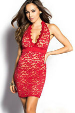 Red Tan Lace Halter Casual Party Dress Bodycon Women's Clothing 21936