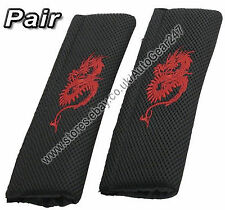 Black Red Dragon Car Seat Belt Shoulder Harness Comfort Pads Pair