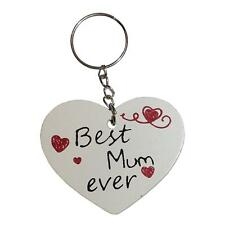 White Wooden Heart 6cm Key Ring - Best Mum Ever
