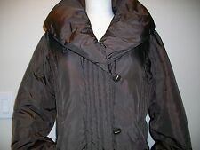 Larry Levine Women's Brown Down Trench Coat Jacket Size Large Puffer Winter