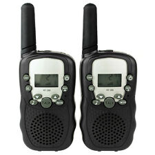 2pcs Mini Walkie Talkie Interphone Handheld CB UHF Pair T388 2-Way Radios Black
