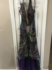 BEADED PEACOCK COLORED EVENING GOWN DRESS PROM JOVANI INSPIRED EVENING DRESS