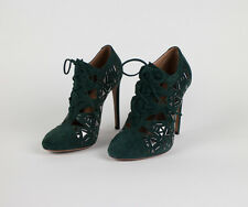 "NIB ALAIA Green Suede Leather Silver Beads 5"" High Heels Shoes 9.5/39.5 $2495"