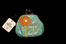 G Vintage Fossil Turquoise Leather Change Coin Purse Suede Flowers Floral  NWT
