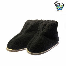 NEW WOOL MEN'S NATURAL BLACK SHEEPSKIN SLIPPERS BOOTS US SIZE 8 - 9  Euro 41-42