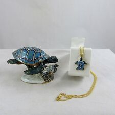 Enameled Pewter Bejeweled Trinket Box with Tiny Necklace  Blue Sea Turtle w Baby