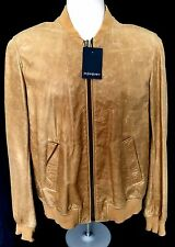 NWT $4.5K Yves Saint Laurent Paris YSL Men's Tan Leather Bomber Jacket AUTHENTIC