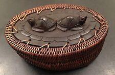 Artifacts Trading Company Rattan Covered Turtle Tortoise Trinket Box