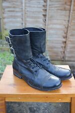 *AWESOME RARE!* AllSaints Mens DEMISE Leather Lace up military boots UK8 US9 BLK