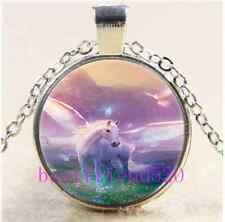 Flying Horse Photo Cabochon Glass Tibet Silver Chain Pendant Necklace