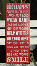 LARGE VINTAGE METAL SIGN BE HAPPY HELP OTHERS SHABBY CHIC HOME DECOR PLAQUE