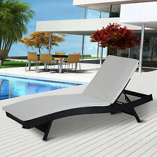 Patio Adjustable Pool Wicker Chaise Lounge Chair PE Rattan Furniture W/ Cushion