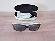 Yves Saint Laurent Womens Designer Sunglasses Black White Polka Dot 2320S New