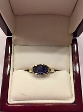 14k 14kt Yellow Gold Sapphire Three Stone Ring 3.2 Grams Size 7