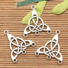 10Pcs  tibetan silver tone 2sided pattern triangle Triquetra  connector H1022