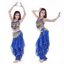 Belly Dance Costume set Top Gold wavy Harem Skirt Bloomers Chiffon Pants Belt UK