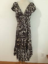 BCBG MAX AZRIA Silk Cap Sleeve Dress Brown & Ivory Floral Size 12